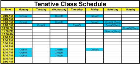 Tenative Class Schedule